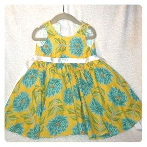 Other - 2T Floral Yellow/Blue dress w/ white ribbon